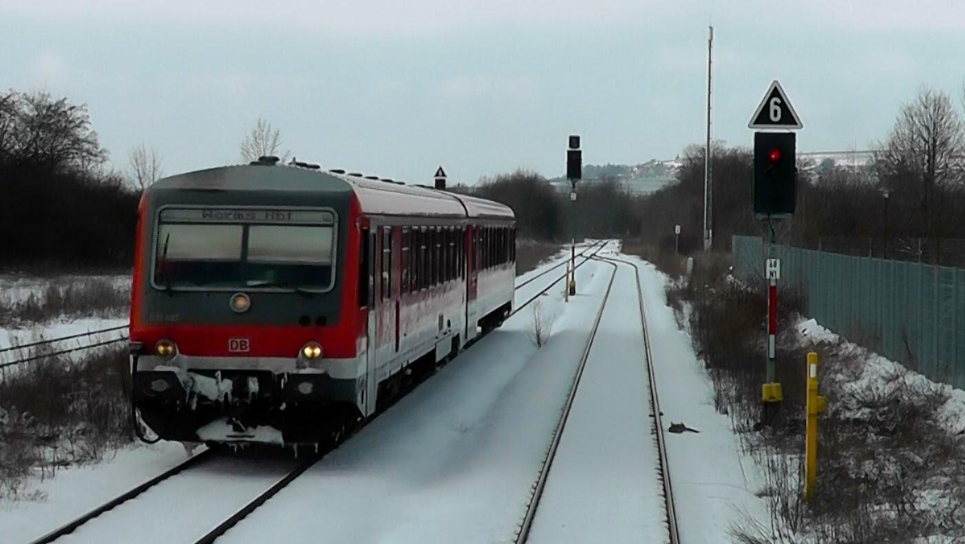 DB Bahn – Nr. 15 – Führerstandmitfahrt – Von Worms nach Wörrstadt im Schnee – BR 218 – März 2013
