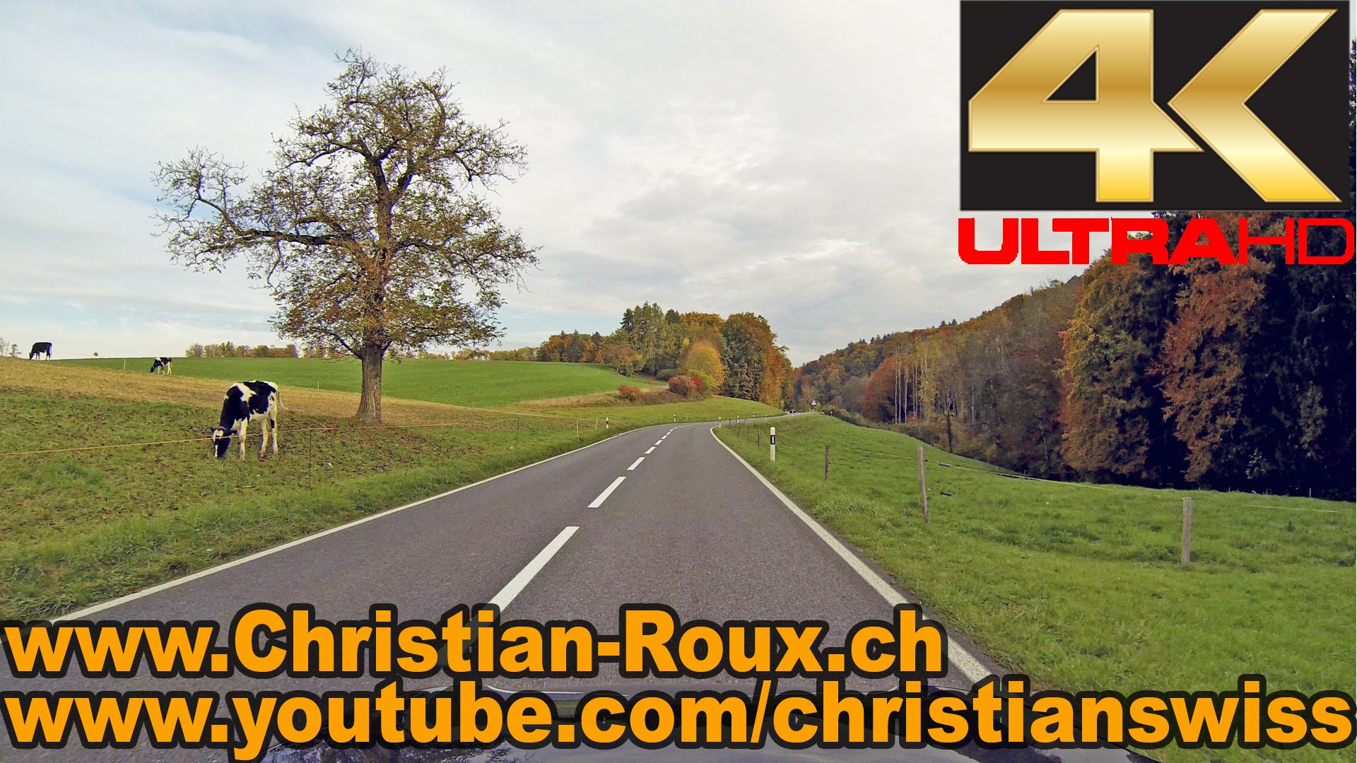 UHD – Switzerland 294 (Camera on board): Fribourg-Murten/Morat en automne (Hero3)