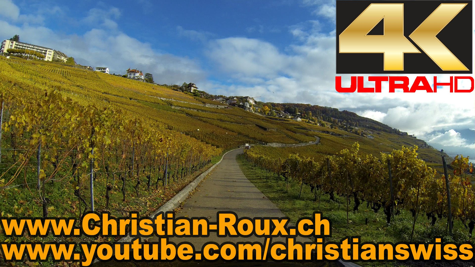 UHD – Switzerland 295 (Camera on board): Vignoble en Terrasses de Lavaux – La Corniche (Hero3)