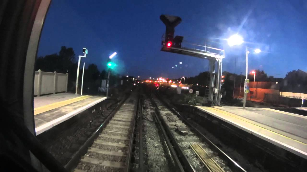 London Victoria to Epsom Downs, Train Drivers View, June 2015, 10 car 377, Night