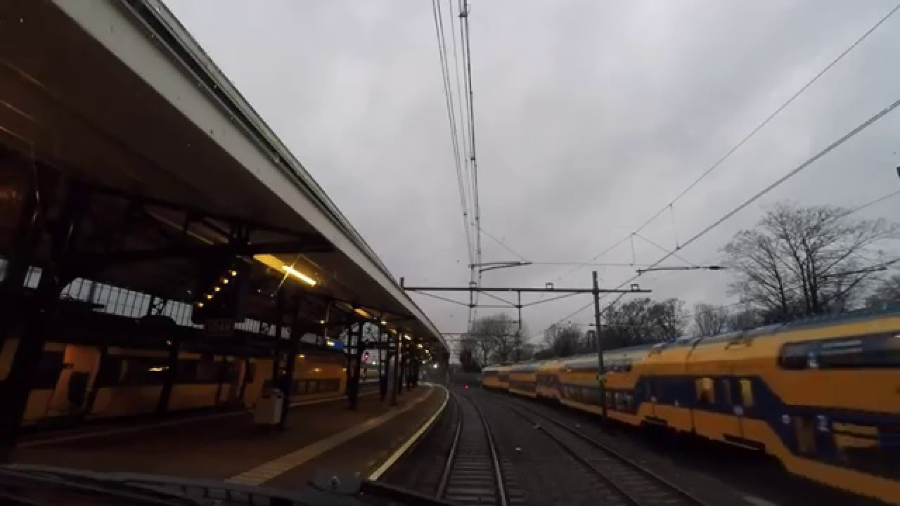 A train driver's view: Haarlem – Den Haag CS, VIRM, 14-Jan-2016.
