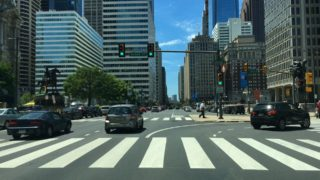 Driving Downtown – Broad Street – Philadelphia Pennsylvania USA