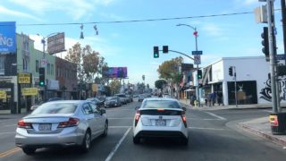 Driving Downtown – LA's Melrose Avenue – Los Angeles California USA