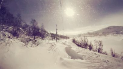 """Train drivers view: """"Stormy"""" conditions on the mountainpass (Bergen – Ål)"""