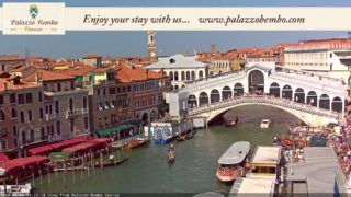 Venice Italy Live Cam – Rialto Bridge in Live Streaming from Palazzo Bembo – Live Webcam Full HD