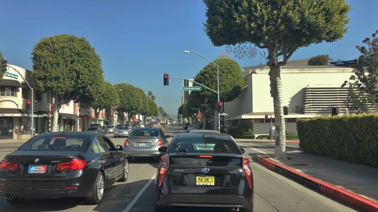 Driving Downtown – LA's Santa Monica Blvd – LA California USA 4K