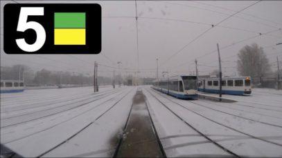 GVB Amsterdam Tramlijn 5 Cabinerit Centraal Station – Station Zuid – Remise Havenstraat in de sneeuw