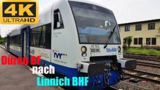 Führerstandsmitfahrt Düren BH nach Linnich BHF mit Rurtalbahn über Huchem-Stammeln,Julich,
