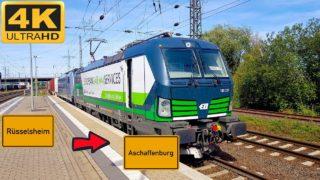 【4K】 Führerstandsmitfahrt Rüsselsheim BF nach Aschaffenburg HBF über Frankfurt Süd,Ost Hanau