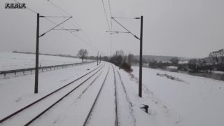 Führerstandsmitfahrt mit über 3400 Tonnen Erzzug. Zuglok Br185 und Schiebelok Br185