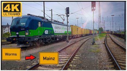 Führerstandsmitfahrt Worms HBF nach Mainz HBF über Osthofen,Bodenheim,Mettenheim