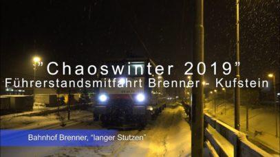 """""""Schneechaos"""" Anfang 2019 – Führerstandsmitfahrt Brenner – Kufstein bei starkem Schneefall"""