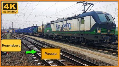 【4K】 Führerstandsmitfahrt Regensburg nach Passau über Straubing,Plattling,Osterhofen
