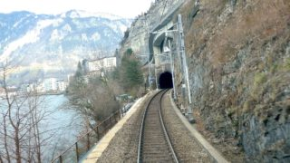 Bellinzona – Basel cab ride with snowfall (Switzerland)