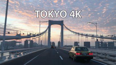 Tokyo 4K – Skyline Expressway Sunrise – Rainbow Bridge – Driving Downtown