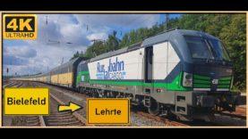 【4K】 Führerstandsmitfahrt Cab Ride Bielefeld Brackwede nach Lehrte BF über Löhne,Minden,Seelze
