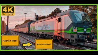 【4K】 Führerstandsmitfahrt Cab Ride Aachen West nach Mönchengladbach HBF über Erkelenz,Rheydt