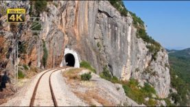 4K CABVIEW Niksic – Podgorica — 600m altitude change — through 12 tunnels from mountains to planes