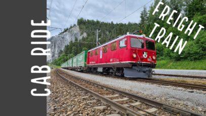 Rhaetian Railway (SWITZERLAND) cab ride with a freight train HAULED by a 1947 bulit locomotive.