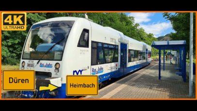 【4K】 Führerstandsmitfahrt Cab Ride Düren ZOB nach Heimbach über Lendersdorf,Kreuzau,Obermaubach