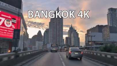 Bangkok 4K – Skyline Expressway Sunrise – Driving Downtown