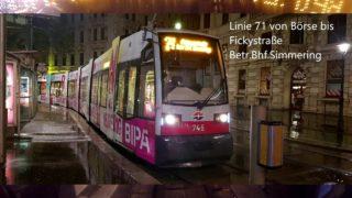 Wien Linie 71 Börse – Bhf. Simmering Fickystraße (ULF) (Nacht und Schneefall)