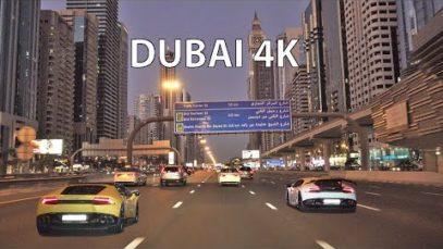 Dubai 4K – Driving Downtown – Skyscraper Sunset