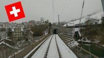 4K Führerstandsmitfahrt Nesslau – St.Gallen Train Cab Ride Switzerland Toggenburgerland in Fog